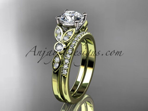 "14k yellow gold unique engagement set, wedding ring with a ""Forever One"" Moissanite center stone ADLR387S"