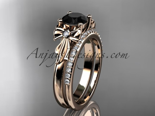 14kt rose gold diamond unique engagement set, wedding ring with a Black Diamond center stone ADER154S