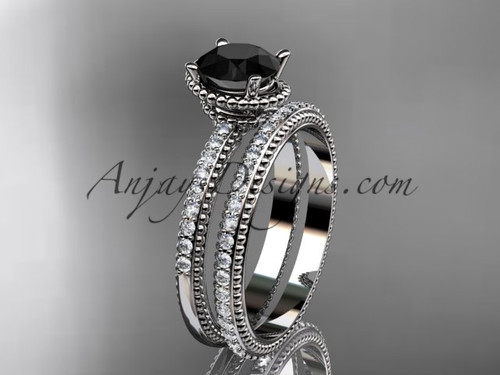 platinum diamond unique engagement set, wedding ring with  Black Diamond center stone  ADER86S