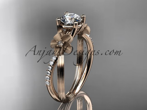"""14kt rose gold diamond leaf and vine wedding ring, engagement ring with a """"Forever One"""" Moissanite center stone ADLR214"""