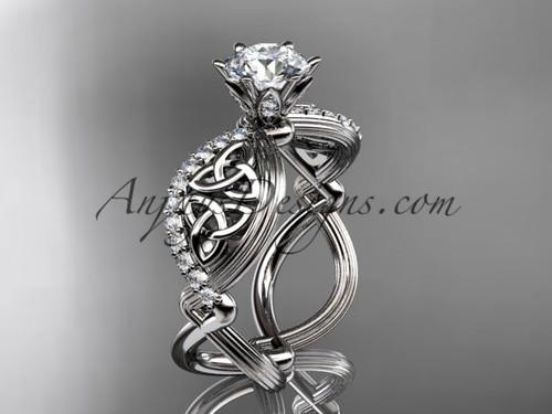 14kt white gold diamond celtic trinity knot wedding ring, engagement ring CT7192