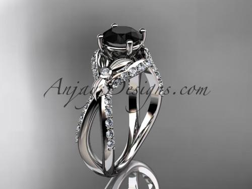 Unique platinum diamond flower, leaf and vine wedding ring, engagement ring with a Black Diamond center stone ADLR218