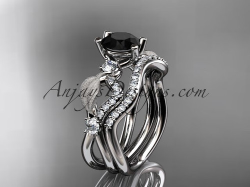 14kt white gold diamond leaf and vine wedding ring, engagement set with Black Diamond center stone ADLR68S