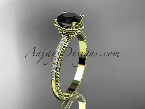 14kt yellow gold diamond unique engagement ring, wedding ring with Black Diamond center stone ADER86