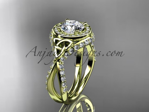 """14kt yellow gold diamond celtic trinity knot wedding ring, engagement ring with a """"Forever One"""" Moissanite center stone CT7416"""