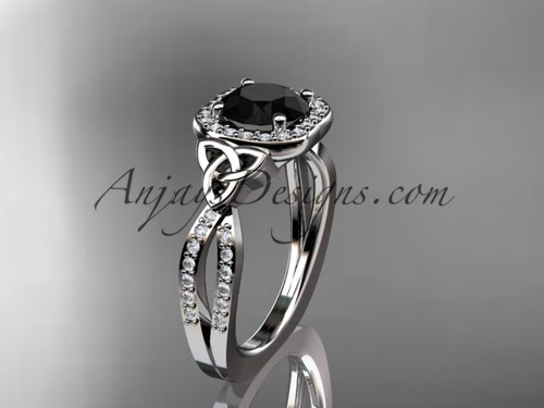 platinum diamond celtic trinity knot wedding ring, engagement ring with a Black Diamond center stone CT7393