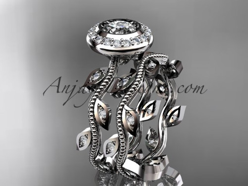 14k white gold diamond leaf and vine wedding ring, engagement ring, engagement set ADLR212S
