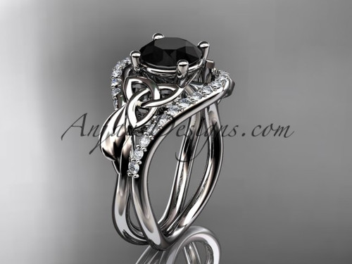 14kt white gold diamond celtic trinity knot wedding ring, engagement ring with a Black Diamond center stone CT7244