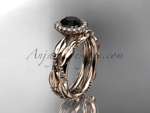 14kt rose gold diamond leaf and vine wedding set, engagement set with a Black Diamond center stone ADLR337
