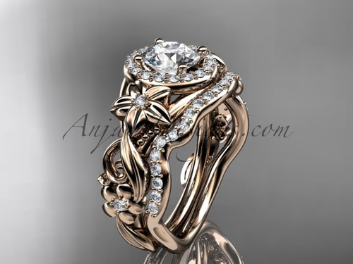 "14kt rose gold diamond unique engagement set, wedding set with a ""Forever One"" Moissanite center stone ADLR300"