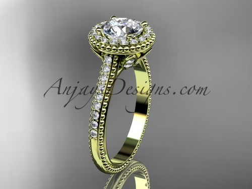 """14kt yellow gold diamond floral wedding ring, engagement ring with a """"Forever One"""" Moissanite center stone ADLR101"""
