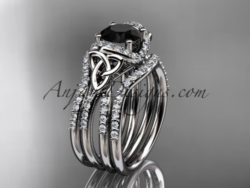 14kt white gold diamond celtic trinity knot wedding ring, engagement ring with a Black Diamond center stone and double matching band CT7155S