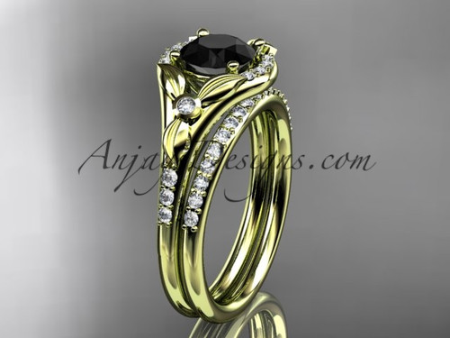 14kt yellow gold diamond floral wedding ring, engagement set with a Black Diamond center stone ADLR126S