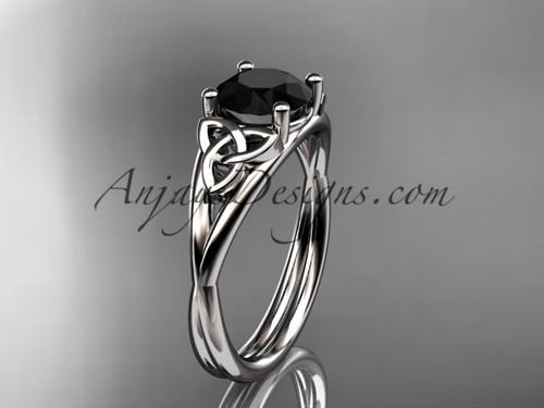 14kt white gold celtic trinity knot wedding ring, engagement ring with a Black Diamond center stone CT7189