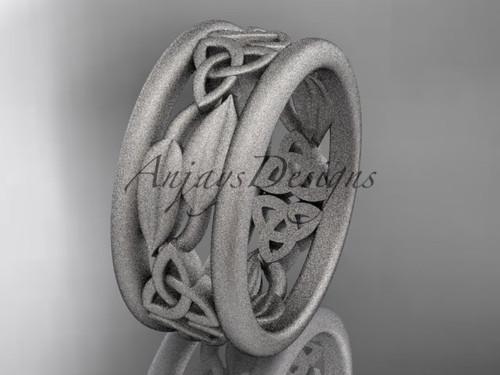 platinum celtic trinity knot wedding band, matte finish wedding band, engagement ring CT7511G