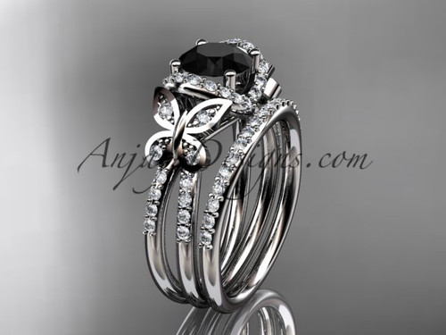 14kt white gold diamond butterfly wedding ring, engagement set with a Black Diamond center stone ADLR141S