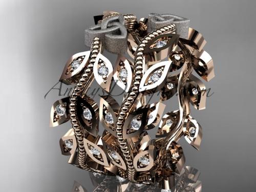 14kt two-tone gold diamond celtic trinity knot, leaf and vine wedding ring, engagement set, wedding band CT7162B 3