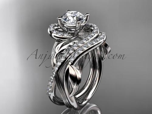 "Unique Platinum diamond leaf and vine wedding set, engagement set with a ""Forever One"" Moissanite center stone ADLR222S"