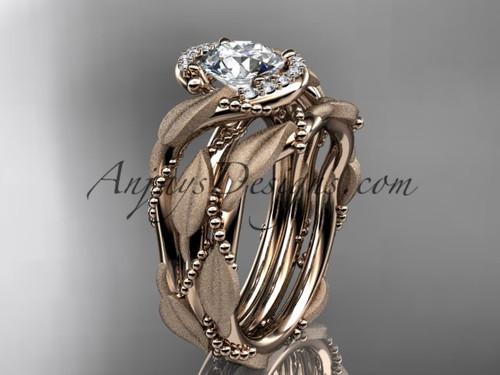 14kt rose gold diamond leaf and vine wedding ring, engagement set ADLR65S