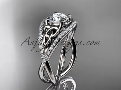 """14kt white gold celtic trinity knot engagement ring ,diamond wedding ring with """"Forever One"""" Moissanite center stone CT788"""