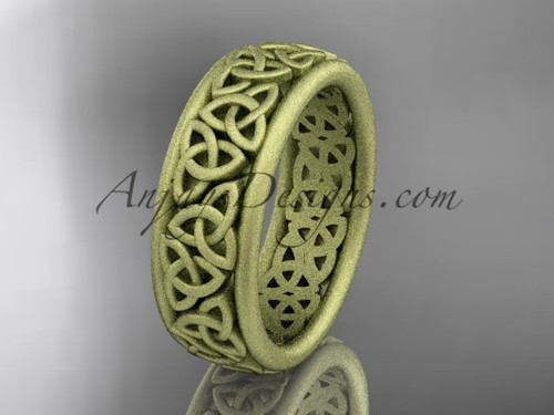 14kt yellow gold celtic trinity knot wedding band, matte finish wedding band, engagement  ring CT7163G