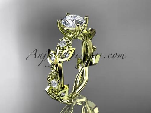 "14kt yellow gold diamond leaf and vine wedding ring, engagement ring with  ""Forever One"" Moissanite center stone ADLR59"