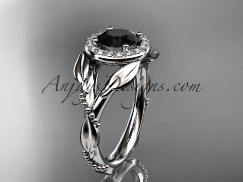 Platinum Black Diamond Leaf Wedding Ring For Women ADLR328