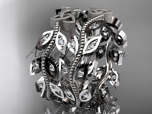 14kt white gold diamond celtic trinity knot, leaf and vine wedding ring, engagement set, wedding band CT7162B
