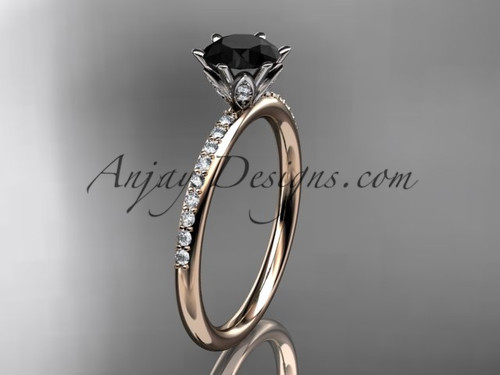 14kt rose gold diamond unique engagement ring, wedding ring with a Black Diamond center stone ADER145
