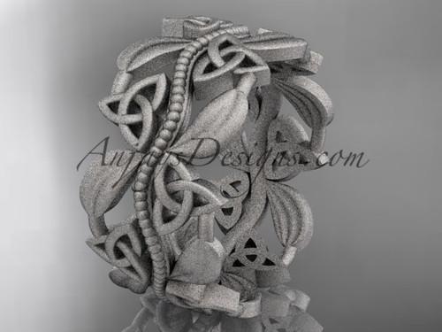 platinum celtic trinity knot wedding band, matte finish wedding band, engagement ring CT7188G