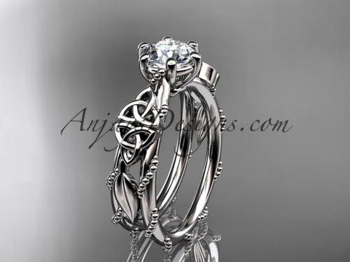 Celtic Engagement Rings Platinum Leaf Wedding Ring CT766