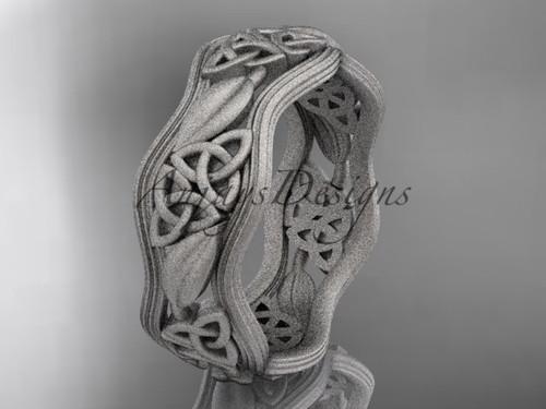 platinum celtic trinity knot wedding band, matte finish wedding band, engagement ring CT7510G