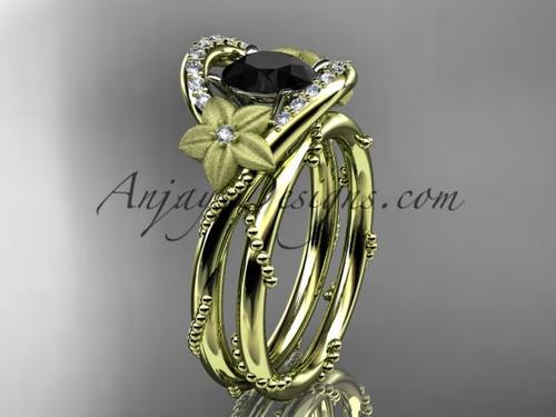 Flower Bridal Set Yellow Gold Black Diamond Ring ADLR166S