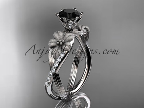 Unique 14kt white gold diamond flower, leaf and vine wedding ring, engagement ring with a Black Diamond center stone ADLR221