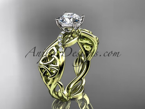 """14kt yellow gold diamond celtic trinity knot wedding ring, engagement ring with a """"Forever One"""" Moissanite center stone CT7270"""