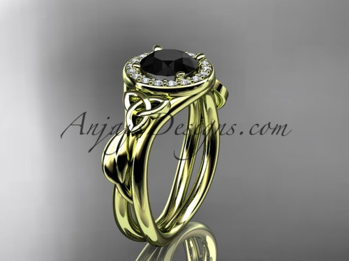 14kt yellow gold diamond celtic trinity knot wedding ring, engagement ring with a Black Diamond center stone CT7314