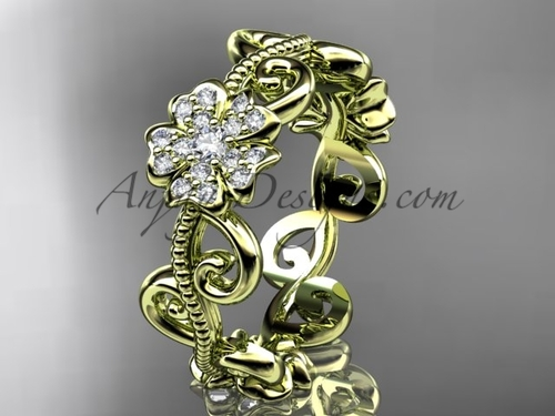 Cherry Blossom Flower Wedding Ring, Yellow Gold Ring VD8138