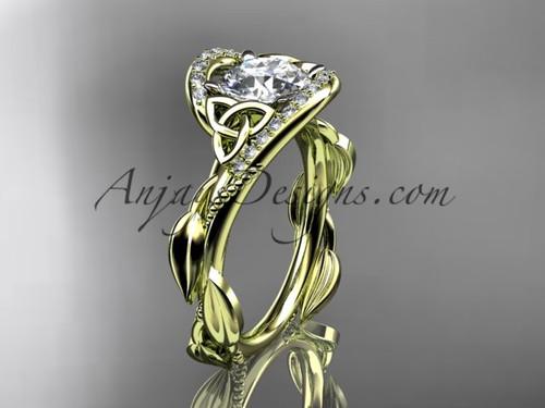 Scottish Celtic Wedding Ring Yellow Gold Moissanite CT764