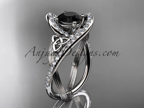 Black Diamond Ring, White Gold Celtic Bridal Ring CT7369