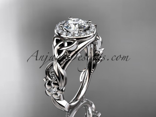 """14kt white gold diamond celtic trinity knot wedding ring, engagement ring with a """"Forever One"""" Moissanite center stone CT7300"""