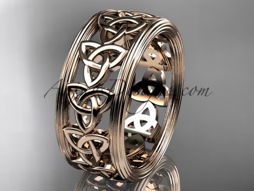 14kt rose gold celtic trinity knot wedding band, engagement  ring CT7513G