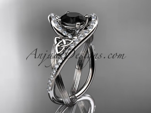 Black Diamond Engagement Ring, Platinum Celtic Ring CT7369