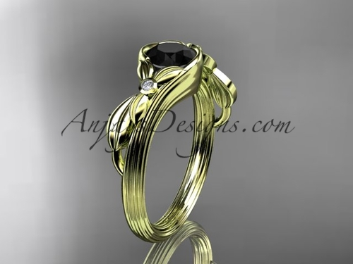 Black Diamond Yellow Gold Bridal Rings, Leaf Ring ADLR324