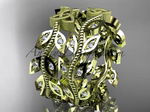 14kt yellow gold diamond celtic trinity knot, leaf and vine wedding ring, engagement set, wedding band CT7162B