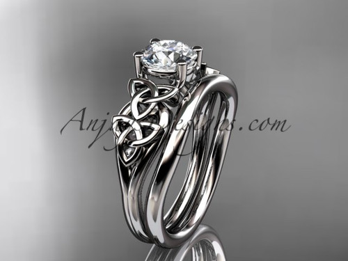 """platinum celtic trinity knot wedding ring, engagement set with a """"Forever One"""" Moissanite center stone CT7169S"""