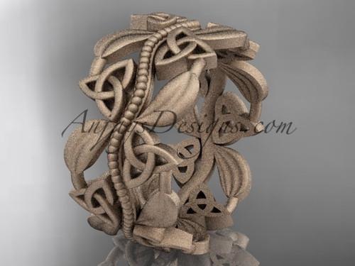 14kt rose gold celtic trinity knot wedding band, matte finish wedding band, engagement ring CT7188G