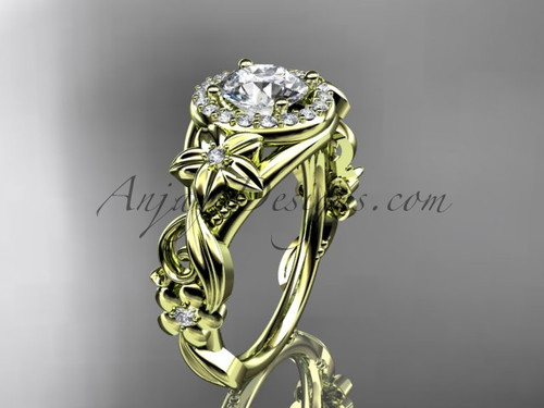 """14kt yellow gold diamond unique engagement ring, wedding ring with a """"Forever One"""" Moissanite center stone ADLR300"""