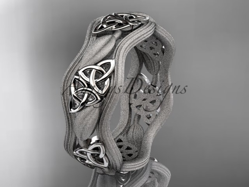 14kt white gold celtic trinity knot wedding band, engagement ring CT7510GM