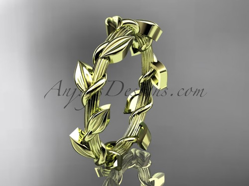 Unique Leaf and Vine Wedding Ring 14kt Yellow Gold ADLR248G