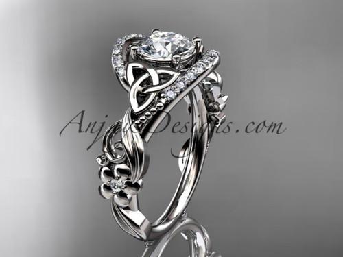 Platinum Moissanite Celtic Wedding & Engagement Ring CT7211